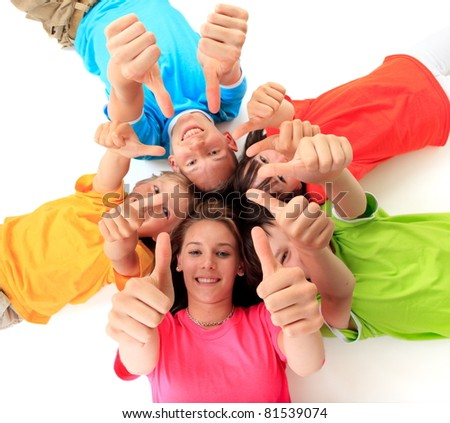 Kids giving the thumbs up - stock photo