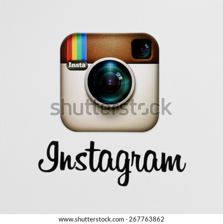 KIEV, UKRAINE - APRIL 03, 2015::Instagram logotype camera icon on the computer screen. Instagram - free application for sharing photos and videos with the elements of a social network. - stock photo