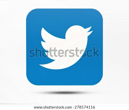 KIEV, UKRAINE - MAY 16, 2015: Twitter logotype on pc screen. Twitter social network for public exchange of short messages using the web interface, SMS, instant messaging tools. - stock photo