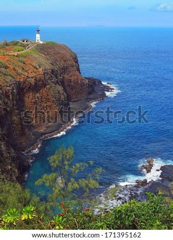 kilauea lighthouse   on the north shore of kauai, hawaii       - stock photo