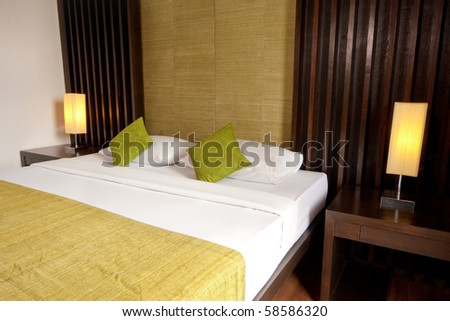 king size bed in minimalism style - stock photo