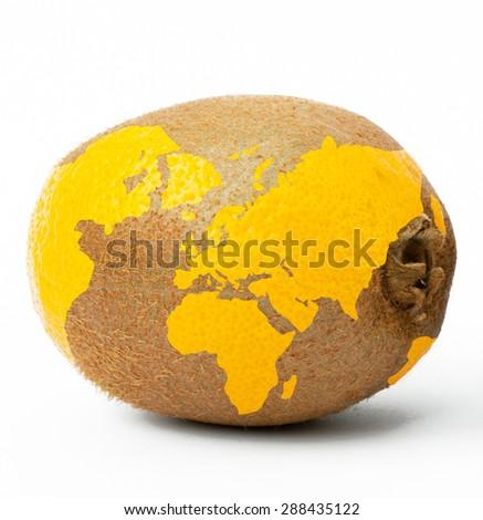 Kiwi-globe isolated on white background - stock photo