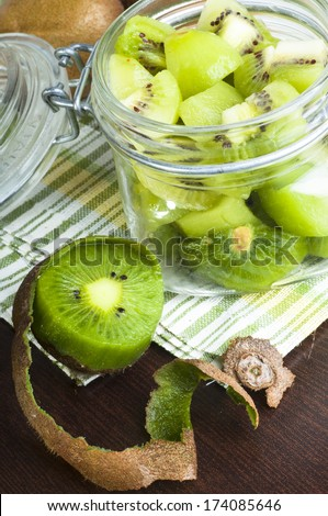 Kiwi in glass jar