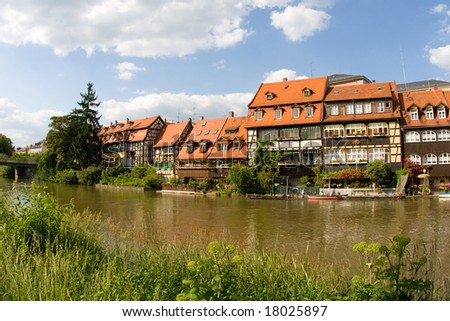 """Klein-Venedig"" (Little Venice): Houses at the water of Regnitz River in Bamberg (Germany)"