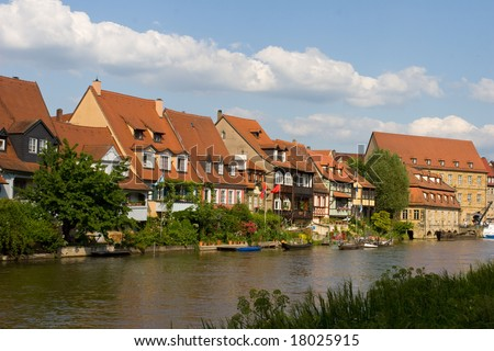 """Klein-Venedig"" (Little Venice): Houses at the water of Regnitz River in Bamberg (Germany) - stock photo"