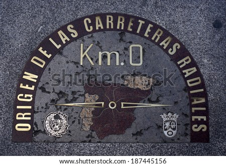 """KM 0"" Sign in Puerta del Sol, Madrid"