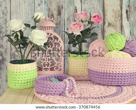 Knitted Decor Ideas for home.Crochet Baskets,Doilies - stock photo