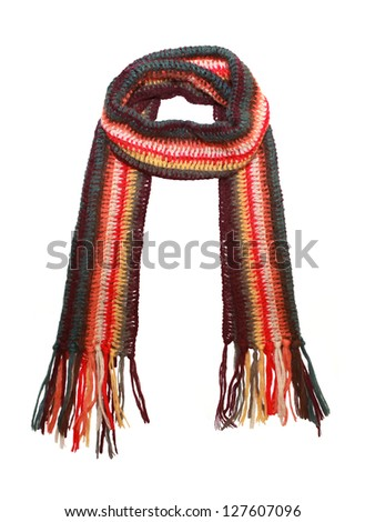 knitted scarf isolated on white - stock photo