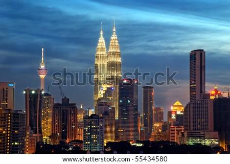 """Kuala Lumpur"" at dawn - stock photo"