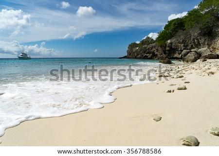 Kura Hulunda and beach - Views around the Caribbean Island of Curacao - stock photo