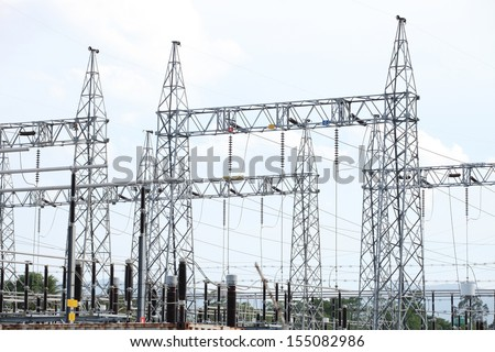 230 kV gantry or take - off structure and equipments in substation.