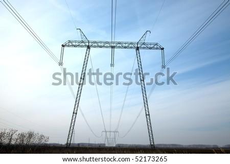 750 KV high voltage power line - stock photo