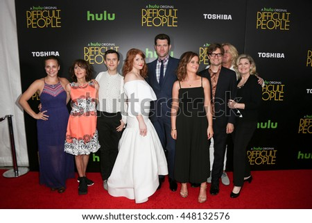 (L-R) Tracee Chimo, Andrea Martin, Cole Escola, Julie Klausner, Billy Eichner, Amy Poehler, James Urbaniak, Scott King & Debra Monk at 'Difficult People' premiere onJuly 30, 2015 in New York City. - stock photo