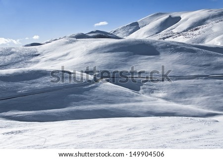"""""""La Molina"""" is a ski resort in the Pyrenees mountains of northeastern Catalonia.  It is the site of the first ski lift in Spain and It hosted the Snowboarding World Championships  - stock photo"""