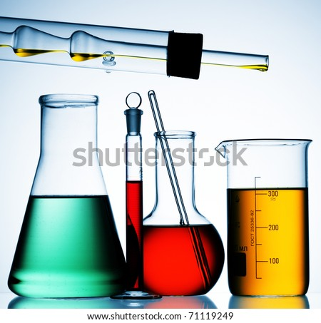 laboratory glassware equipment ready for an experiment in a science research lab - stock photo