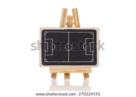 ?lackboard with a drawing of a blank Football field - stock photo