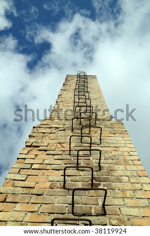 ladder extened to the sky - stock photo