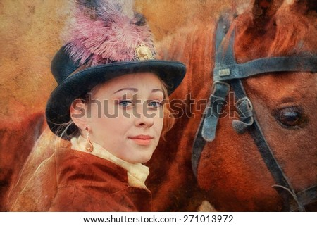 Lady in riding habbit XIX Century at horse hunting.  Imitation of old oil painting - stock photo