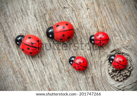 Ladybugs family on the old wooden background - stock photo