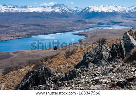 Lake Alexandrina and Joseph Ridge from Mt John, Tekapo, South Island, New Zealand - stock photo
