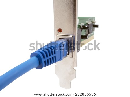lan cable & network card on white background - stock photo
