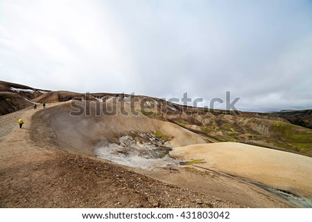 Landscape of Iceland's at the famous Laugavegur hiking trail. - stock photo