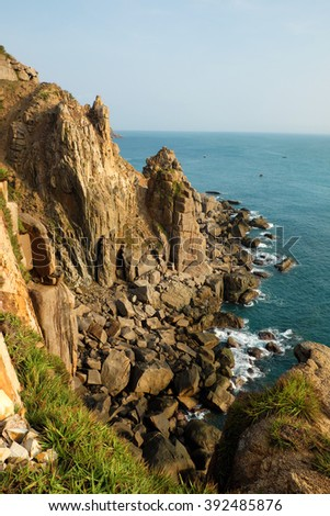 Landscape of sea from Dai Lanh cape, Phu Yen, Viet Nam, amzing scene with rock, stone, beautiful place for Vietnam travel