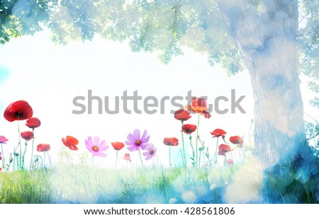 landscape with poppy flowers and single tree - stock photo