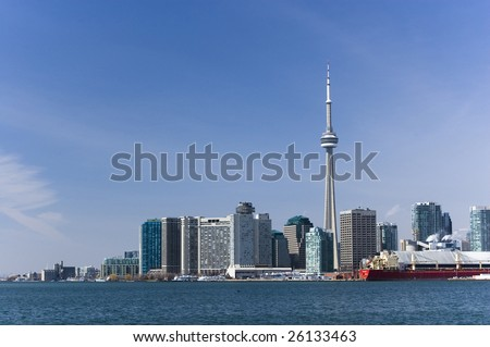 landscape with  toronto skyline /  cn tower /  harbourfront