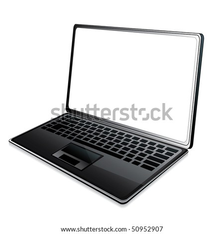Laptop icon with white screen, illustration