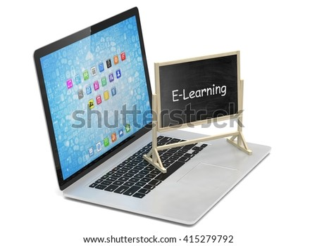 Laptop with chalkboard, e-learning, online education concept. 3d rendering. - stock photo