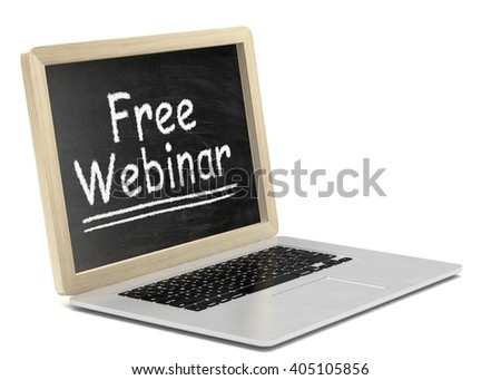 Laptop with chalkboard, free webinar, online education concept. 3d rendering.
