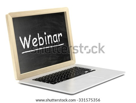 Laptop with chalkboard, webinar, online education concept