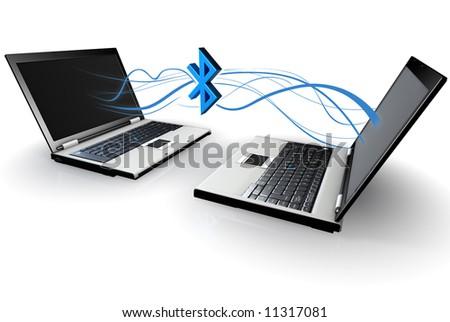 2 Laptops communicating - stock photo