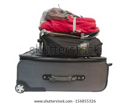 large suitcases and travel bag isolated on white with clipping path . - stock photo