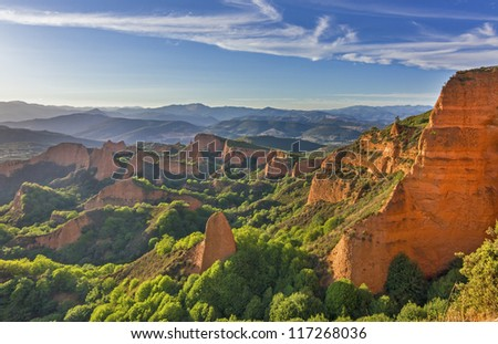 """Las Medulas"" ancient Roman mines, Leon, Spain. - stock photo"