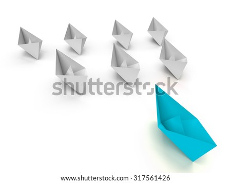 Leadership concept. One  leader ship leads other white ships forward - stock photo