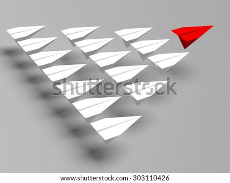 Leadership concept. One red leader plane leads other grey planes forward - stock photo
