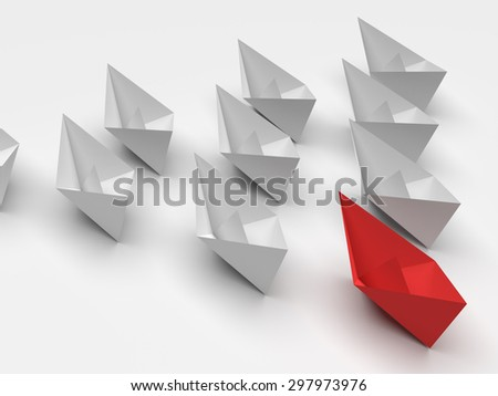 Leadership concept. One red leader ship leads other white ships forward - stock photo