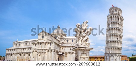 Leaning Tower of Pisa and the Pisa Cathedral, The Fountain with Angels in Piazza dei Miracoli, Pisa, Italy - stock photo
