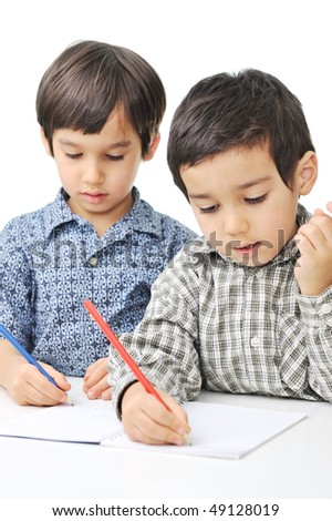 Learning process, cute children - stock photo
