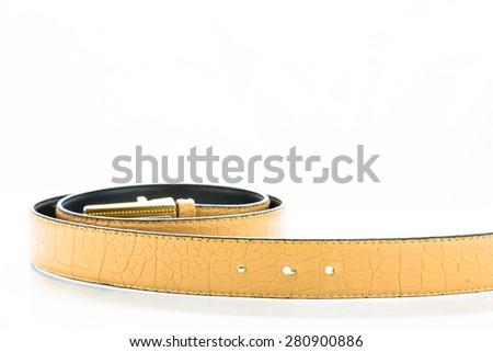 leather male belt isolated on white background - stock photo
