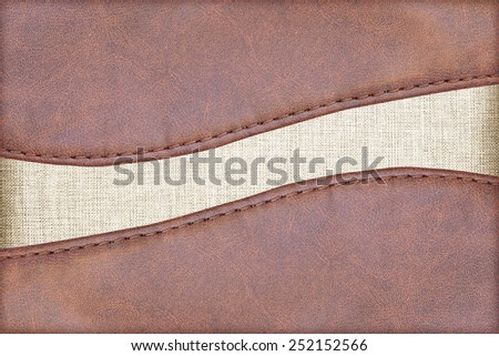 leather textured with fabric background  - stock photo