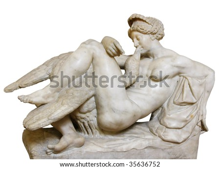 """""""Leda with the Swan"""" by Bartolomeo Amannatti  in the Museo Nazionale del Bargello in Florence. Isolated on white with path - stock photo"""