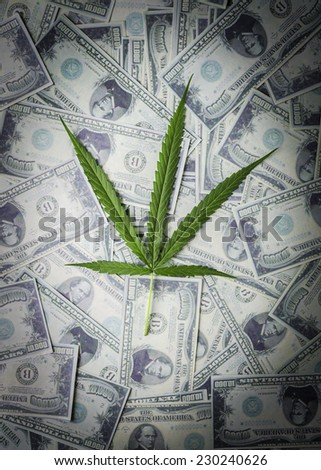 """""""Legalize Cannabis"""" concept. Hand holding a marijuana leaf floating above the several banknotes. - stock photo"""