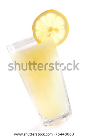 lemonade glass decorated with sliced lemon isolated on white background - stock photo