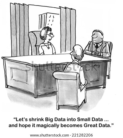 """Let's shrink Big Data into Small Data... and hope it magically becomes Great Data."" - stock photo"