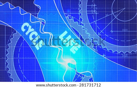 Life Cycle on Blueprint of Cogs. Technical Drawing Style. 3d illustration with Glow Effect. - stock photo