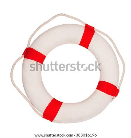Lifebuoy  isolated on white background - stock photo