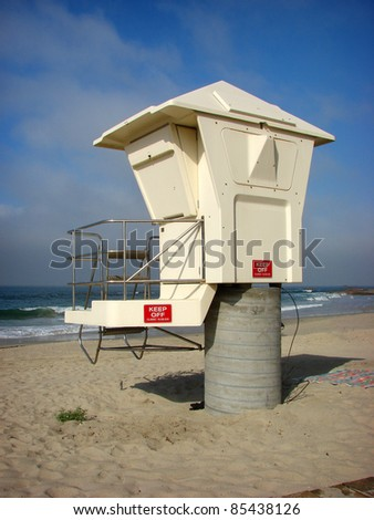 lifeguard tower on beach - stock photo